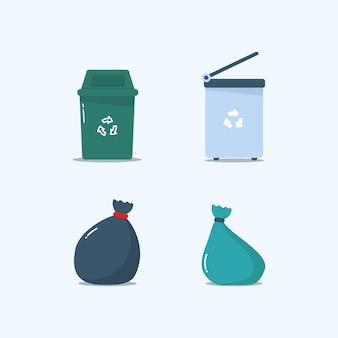 Разноцветные мусорные баки, полные мусора. металлические и пластиковые мусорные баки, мусорные пакеты в плоском исполнении.
