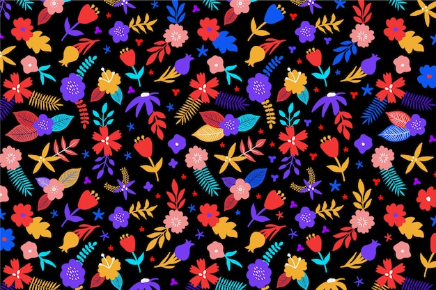 Multi-coloured background with floral design