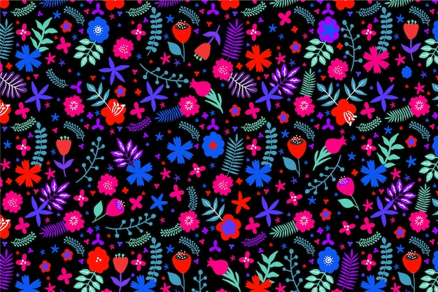 Multi-coloured background with flowers and leaves