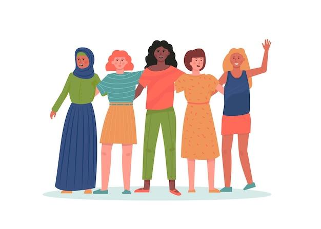 抱擁に立っている女性の多民族グループ