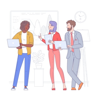 若者の多民族グループ、陽気な男性と女性の従業員または同僚が一緒に現在の会社の問題を解決します