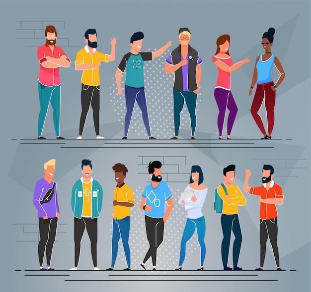 Multi-ethnic people freelancers cartoon group set
