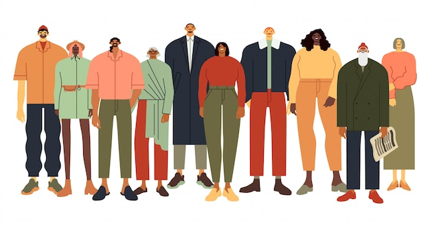 Multi ethnic people group. persons in casual outfit, diverse people team and adult community   illustration. multiracial unity. smiling crowd of men and women. age and ethnicity diversity