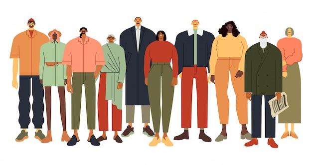 多民族の人々のグループ。カジュアルな服装の人、多様な人々のチーム、大人のコミュニティのイラスト。多民族の団結。男性と女性の群衆の笑顔。年齢と民族の多様性