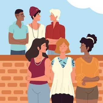 多民族の若者グループの人々