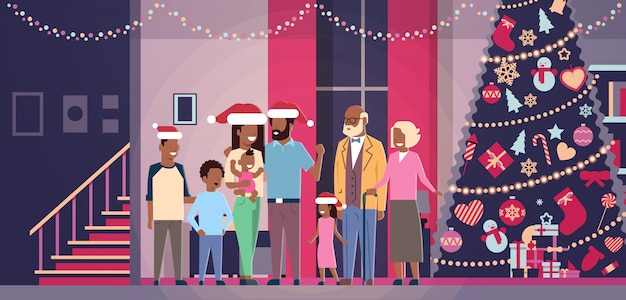 Multi generation african american family standing together in house near decorated fir tree happy new year merry christmas concept flat horizontal