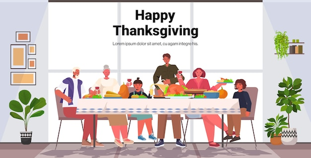 Multi generation family celebrating happy thanksgiving day people sitting at table having traditional dinner