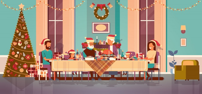Multi generation family celebrating new year holiday people sitting at table traditional dinner concept decorated christmas tree living room interior horizontal flat