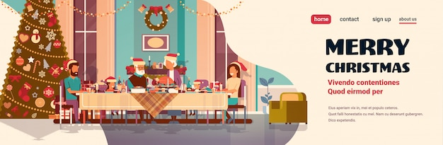 Multi generation family celebrating new year merry christmas holiday people sitting at table traditional dinner concept decorated fir tree living room interior