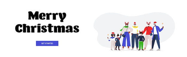코로나 바이러스 전염병 신년 크리스마스 휴일 축하 개념 가로 배너를 방지하기 위해 마스크를 쓰고 산타 모자에 다세대 가족