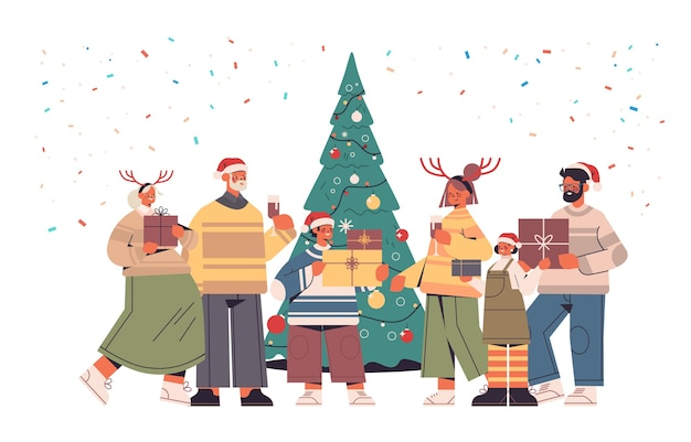 Multi generation family in santa claus hats holding wrapped gift boxes happy new year and merry christmas holidays celebration concept horizontal full length vector illustration