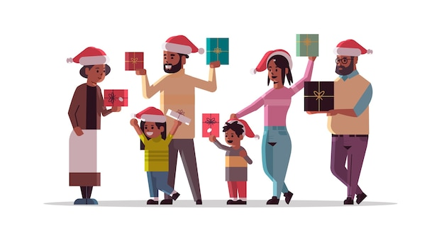Multi generation family with gift present boxes standing together merry christmas happy new year holiday celebration concept grandparents and children wearing santa hats full length horizontal vector
