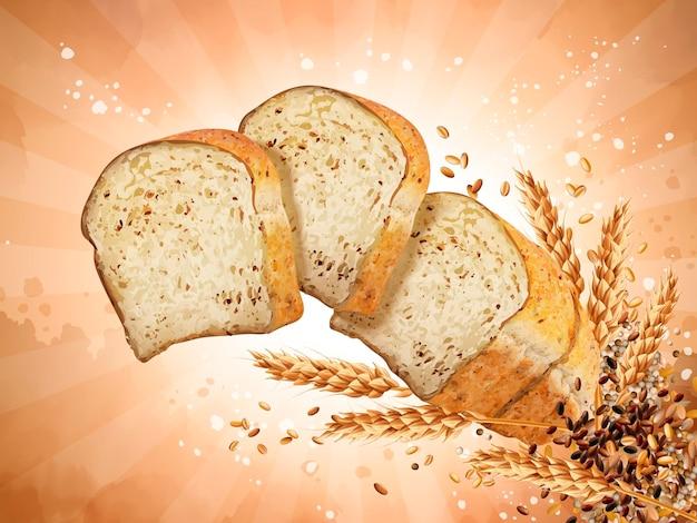 다중 곡물 토스트 디자인 요소, 3d 그림에서 곡물과 함께 공중에 떠 있는 얇게 썬 빵, 줄무늬 배경