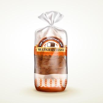 여러 곡물 토스트 패키지 디자인, 빵이 들어 있는 비닐 봉지 패키지, 베이지색 배경의 3d 그림