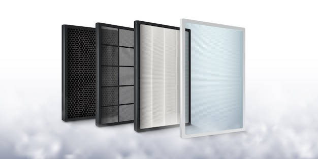 Multi-layer air filter increase the efficiency of air purification to be cleaner, carbon layer, dust filter, germ filter, fiber.