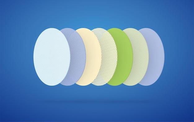 7개의 섹션으로 구성된 다중 레이어 필터링 통기성 보호 레이어. 다양한 섬유질 소재를 통한 환기 시스템의 개념.