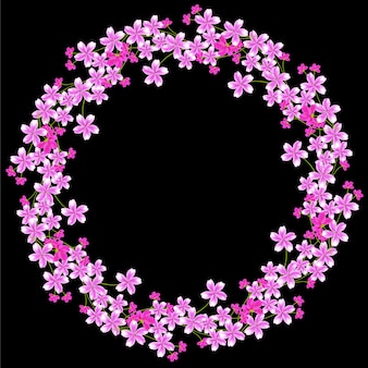 Multi purpose cherry blossom flower circle border