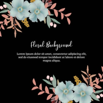 Multi purpose floral background with blue flower decoration