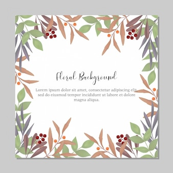 Multi purpose floral framed background template with greenery