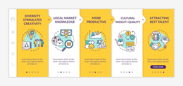 Multi racial team onboarding vector template. different nationality of colleagues. teamwork effectiveness. responsive mobile website with icons. webpage walkthrough step screens. rgb color concept