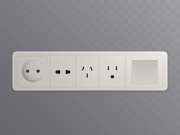 Multi socket ac power wall-mounted outlet 3d realistic vector
