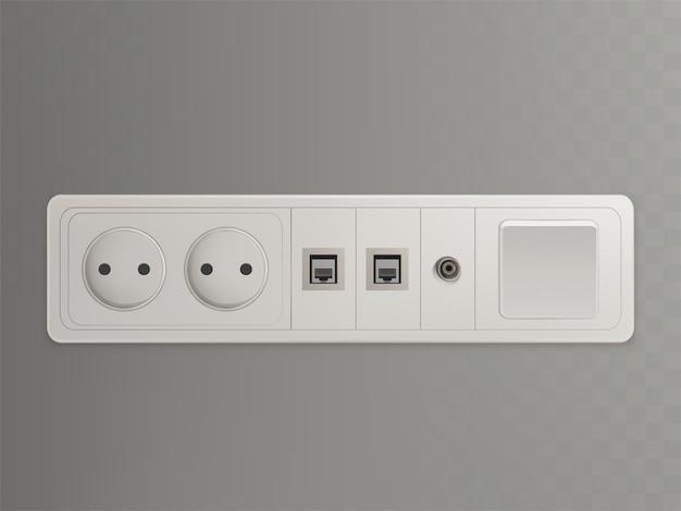 電気、イーサネット、ケーブルまたは衛星tv接続付きマルチソケット壁コンセント