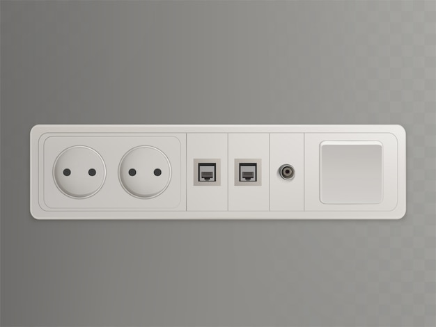 Multi socket wall outlet with electrical, ethernet, cable or satellite tv connections