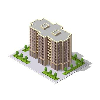 Многоэтажное здание, башня с местом для парковки, деревья