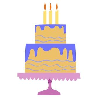 스탠드에 다층 케이크입니다. 제과 로고. 평면 스타일의 벡터 일러스트 레이 션.