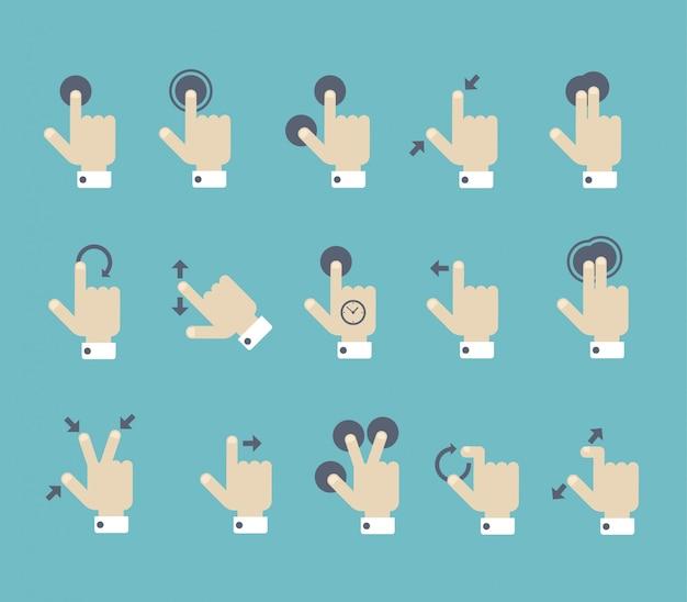 Multi сенсорный экран жест руководство пользователя постер. рука и пальцы с указателями точки нажатия стрелки жестов направление плоский дизайн иллюстрация