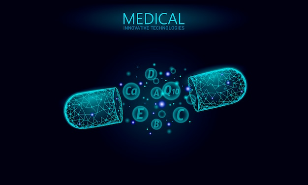 멀티 비타민 복합 저 폴리 캡슐. 건강 보조 스킨 케어 보디 빌딩 노화 방지 약국 배너 템플릿입니다. 3d 코엔자임 q10, a, b, c, d. 의학 과학 일러스트레이션