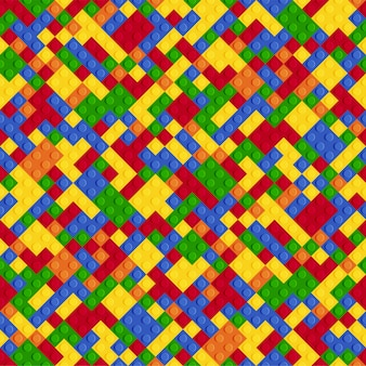 Multicolor abstract plastic constructor seamless pattern