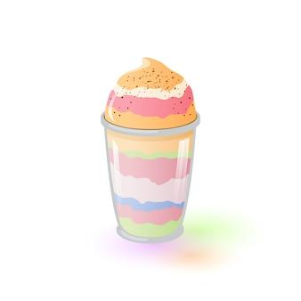 Разноцветное аппетитное парфе в стекле. фруктово-ягодный десерт. замороженный йогурт. банан, фисташки, сладкое блюдо из клубники, джелато, пломбир. мультфильм значок на белом фоне.