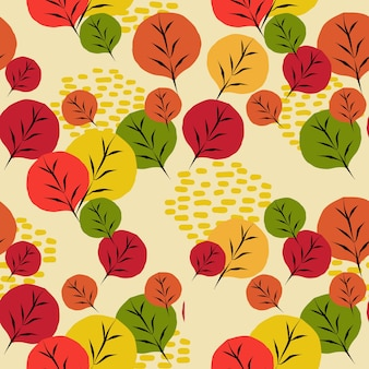 Multicolor of autumn seamless pattern of leaves