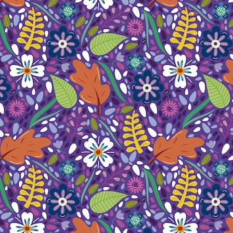 Multicolor background with flowers and leaves