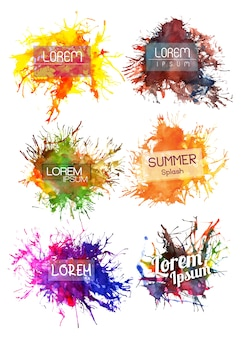 Multicolor brush stokes with text