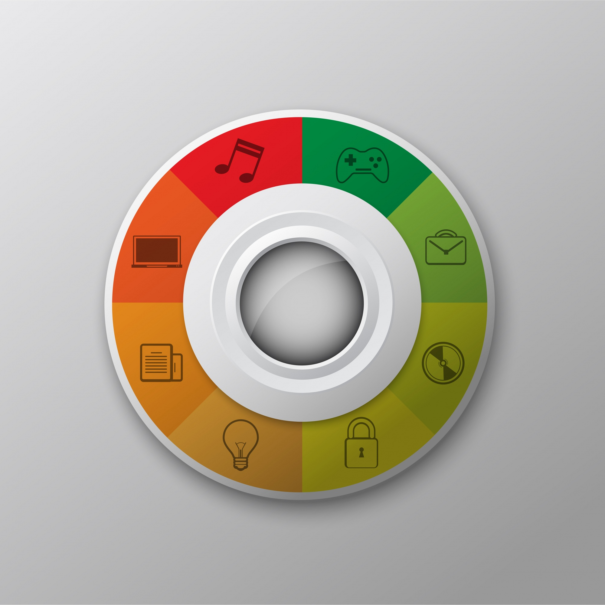 Multicolor circle with icons