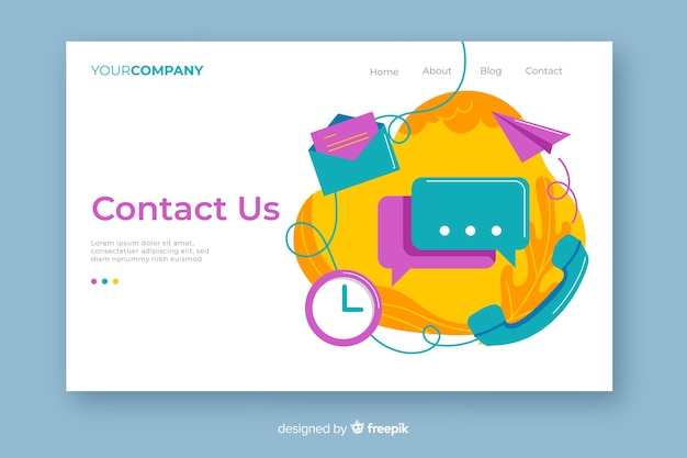 Multicolor contact us landing page with contact objects mixture