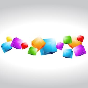 Красивые многоцветные кубики формы векторной работы