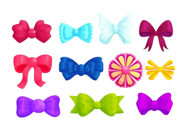 Multicolor decorative bows cartoon illustrations set.