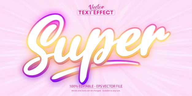 Multicolor editable text effect, sweet colorful cartoon font style