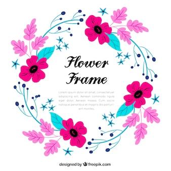 여러 가지 빛깔의 꽃 프레임 배경
