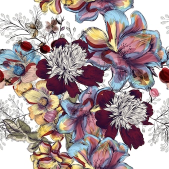 Multicolor flowers background