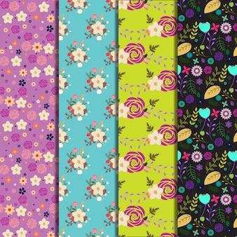 Multicolor flowers pattern background