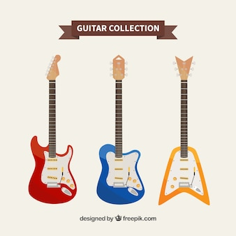Collezione di chitarre multicolore