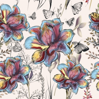 Multicolor hand drawn flowers