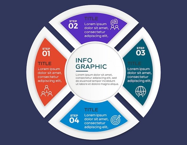 Multicolor infographic with 4 options steps