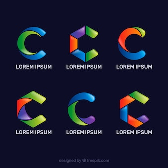 Multicolor letter c logo collect