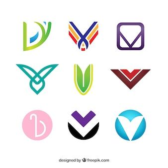 Multicolor letter v logo collection