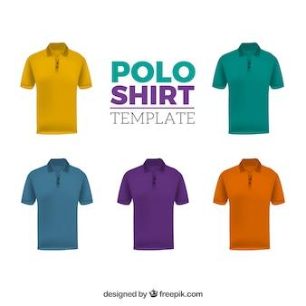 Шаблон многоцветной мужской рубашки поло